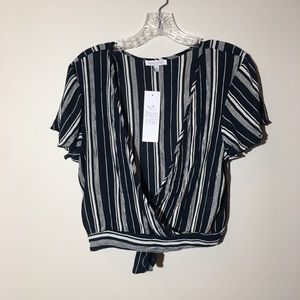 Patrons of Peace Sz Small Navy White Striped Top